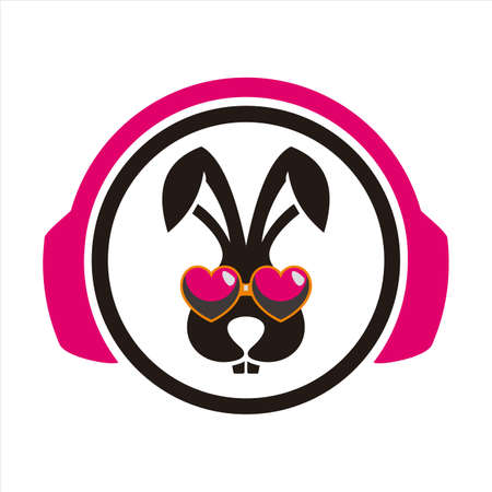 rabbit headphone listen music vector icon vector flat concept design