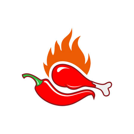 hot spicy chilli chicken icon flat vector concept design