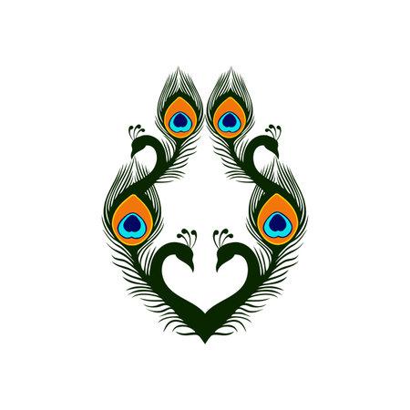 abstract peacock love luxury icon vector concept design