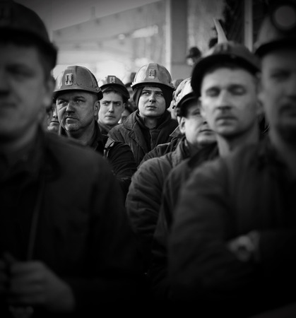 liquidation: Omontowice, Poland - The Protest Action-of strike of Silesian miners and labor unionists at KWK Budryk against the liquidation of the mine on Silesia, in connection with the government-plan for the Jastrzębie Coal-Company