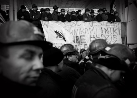 liquidation: Omontowice, Poland - The Protest Action-of strike of Silesian miners and labor unionists at KWK Budryk against the liquidation of the mine on Silesia, in connection with the government-plan for the Jastrz?bie Coal-Company Editorial