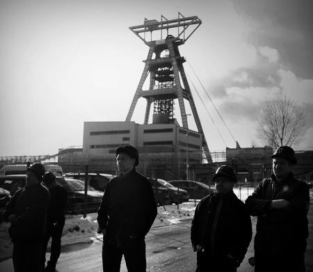 demonstrator: Omontowice, Poland - The Protest Action-of strike of Silesian miners and labor unionists at KWK Budryk against the liquidation of the mine on Silesia, in connection with the government-plan for the Jastrzębie Coal-Company