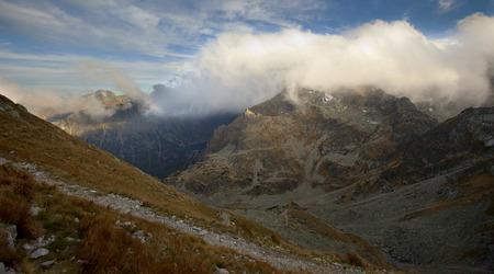 Autumn in five lakes valley in High Tatra Mountains. Poland photo