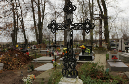 iron cross: Old iron cross in cemetery