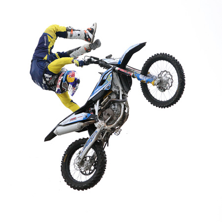 daredevil: CRACOW, POLAND - JANUARY 29, 2015: Show announcing world championship in FMX - Diverse Jump of the Night in Cracow
