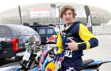daredevil: CRACOW, POLAND - JANUARY 29, 2015: The press-conference announcing world championship in FMX - Diverse Jump of the Night in Cracow