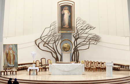 the devotion: KRAKOW, POLAND - April 24,2014: The Divine Mercy Sanctuary, Roman Catholic basilica dedicated to Divine Mercy devotion, as the resting place of Saint Faustina Kowalska, Krakow