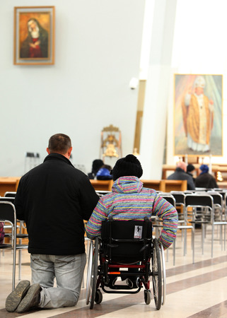 mercy: KRAKOW, POLAND - April 24,2014: The Divine Mercy Sanctuary, Roman Catholic basilica dedicated to Divine Mercy devotion, as the resting place of Saint Faustina Kowalska, Krakow