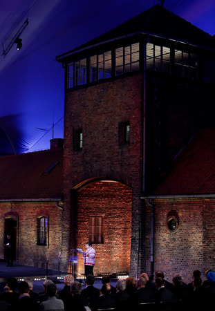 extermination: AUSCHWITZ, POLAND - JANUARY 27, 2015: 70th anniversary of the liberation of  German concentraction and extermination camp Auschwitz