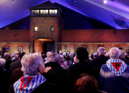 AUSCHWITZ, POLAND - JANUARY 27, 2015: 70th anniversary of the liberation of Nazi German concentraction and extermination camp Auschwitz