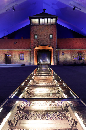 auschwitz memorial: AUSCHWITZ, POLAND - JANUARY 27, 2015: 70th anniversary of the liberation of German concentraction and extermination camp Auschwitz