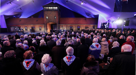 extermination: OSWIECIM, POLAND - JANUARY 27, 2015: 70th anniversary of the liberation of German concentraction and extermination camp Auschwitz