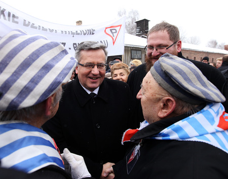 OSWIECIM,  POLAND - JANUARY 27, 2015: 70th anniversary of the liberation of Nazi German concentraction and extermination camp Auschwitz