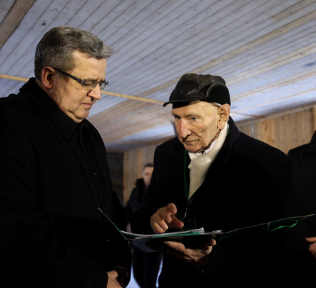 extermination: OSWIECIM,  POLAND - JANUARY 27, 2015: 70th anniversary of the liberation of German concentraction and extermination camp Auschwitz Editorial