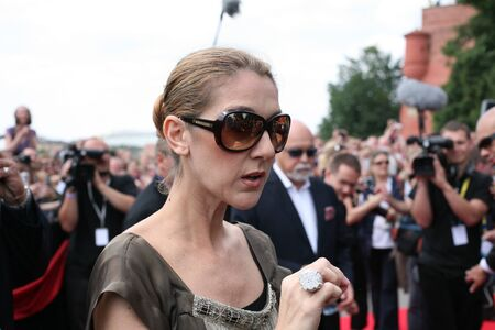krakow: KRAKOW, POLAND - JUNE 28: Celine Dion in Krakow where she was honored with the first star on the Krakow Walk of Fame, Krakow, Poland on June 28, 2008.