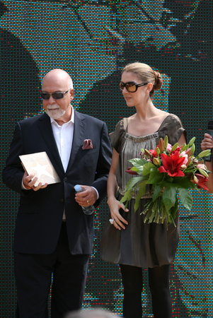 KRAKOW, POLAND - JUNE 28: Celine Dion with husband Rene Agelil in Krakow where she was honored with the first star on the Krakow Walk of Fame, Krakow, Poland on June 28, 2008.