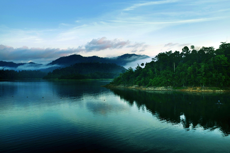 the beautiful lake with mist Stock Photo