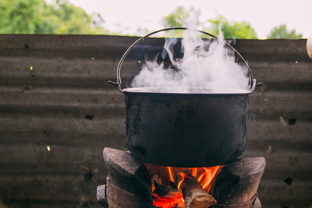 boil water: Boil water with stove