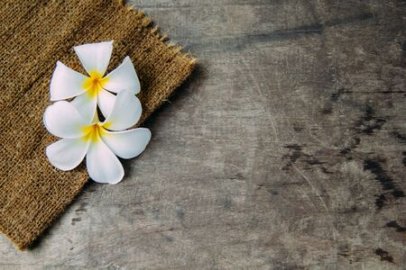 spa flower: Wood background with Plumeria(frangipani)