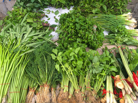 Fresh vegetables market in Thailand Stock Photo