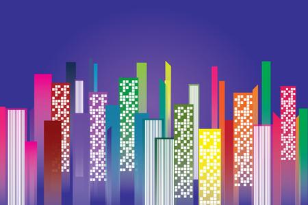 condominium night city and copy space vector illustration