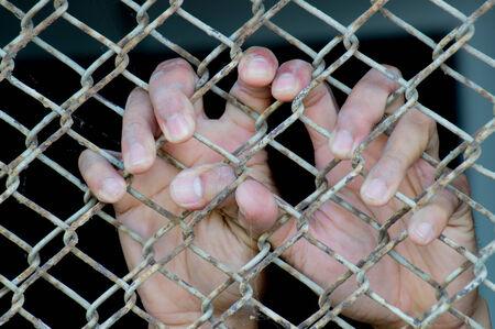 Hand in jail Stock Photo