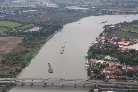 chao phraya: bridge over Chao Phraya River at Ayutthaya Stock Photo