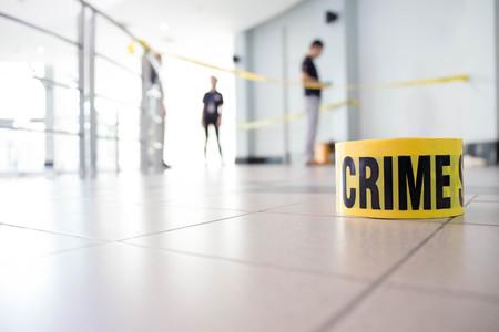 crime scene tape: crime scene Stock Photo