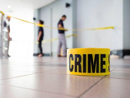 law enforcement: crime scene with law enforcement background Stock Photo