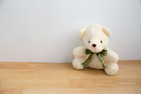 wooden partition: bear doll on wood floor and white wall Stock Photo