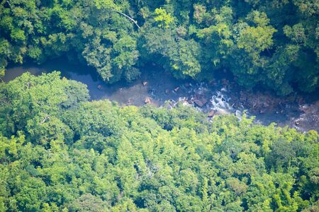 plentifully: aerial view of canal at plentifully  tropical rain forest in Thiland Stock Photo