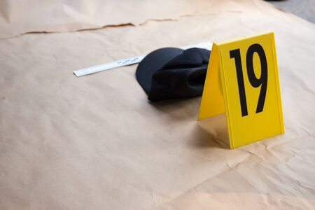evidence tag number  for photograph in  crime scene