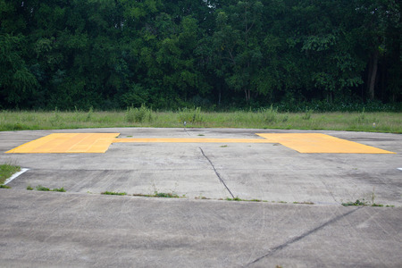 helicopter pad: Helipad and forest background