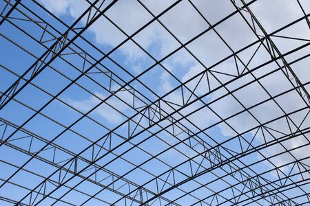 metal structure: metal structure roof at construction site Stock Photo