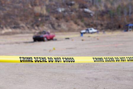crime scene tape: evidence and crime scene tape in car explosion crime scene