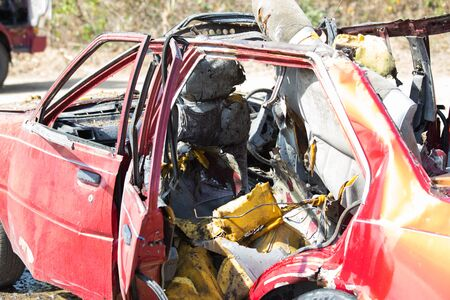 csi: car wreck from explosion in training course Stock Photo