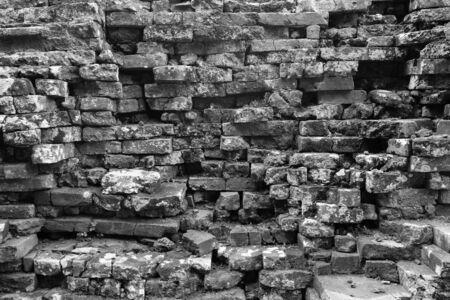 rung: ruins of brick in Phanom Rung castle texture in monotone