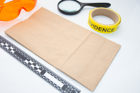 evidence bag: evidence bag with forensic tool for crime scene investigation