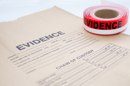sealing tape: evidence bag with red evidence sealing tape  for crime scene investigation Stock Photo
