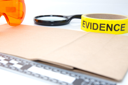 evidence bag: evidence tape and forensic tool for crime scene investigation