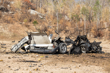wrecked: wrecked car from explosive in crime scene for law enforcement training