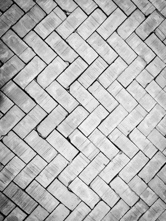 brick floor: old and vintage style of brick floor texture and background in monotone