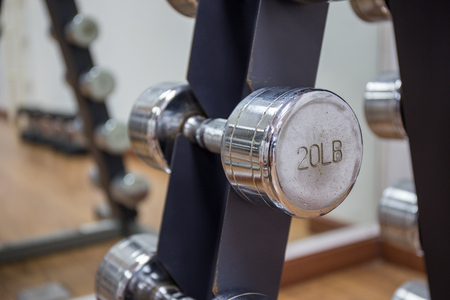 muscle building: 20lb dumbbell for muscle building on rack in workout room