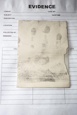 latent: latent fingerprint keep by forensic on evidence bag in crime sccene investigation