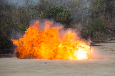 fire and smoke from explosion Stock Photo