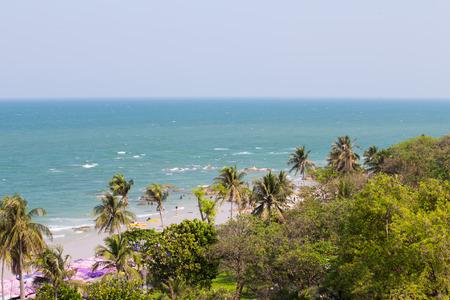 beach with blue sea and jungle at Hua Hin, Thailand