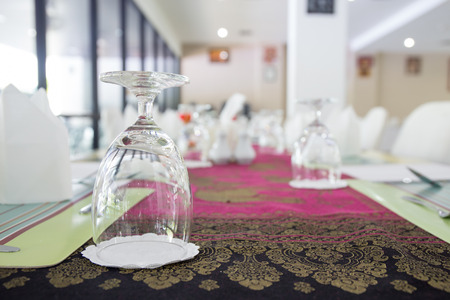 water grass: water grass arrange on dinning table at food hall Stock Photo