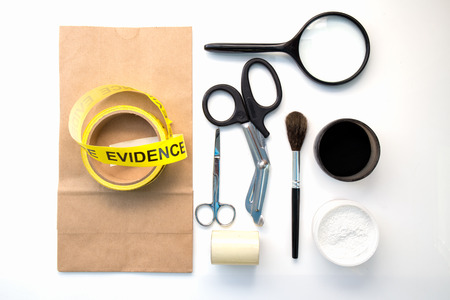 background csi: forensic tool for crime scene investigation isolated on white background