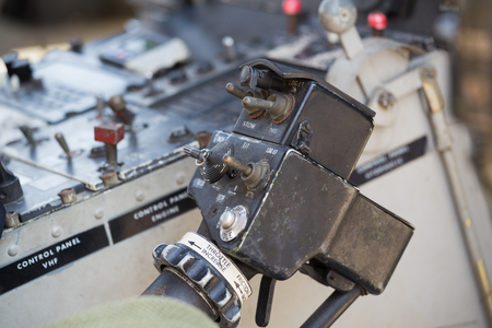 throttle: old helicopter throttle control in cockpit Stock Photo