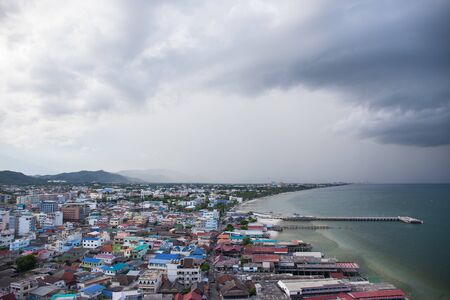Hua Hin, Thailand-October 8,2016:Port and old city area of Hua Hin, Thailand in rainny season.Hua Hin is one of the best popular city for tourist Editorial